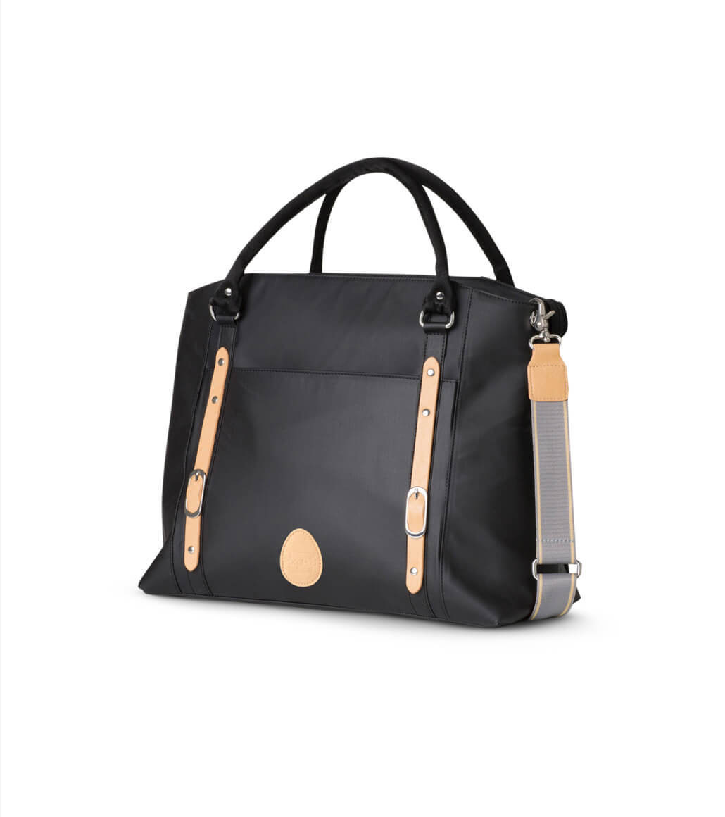 Stylish black and brown nappy bag