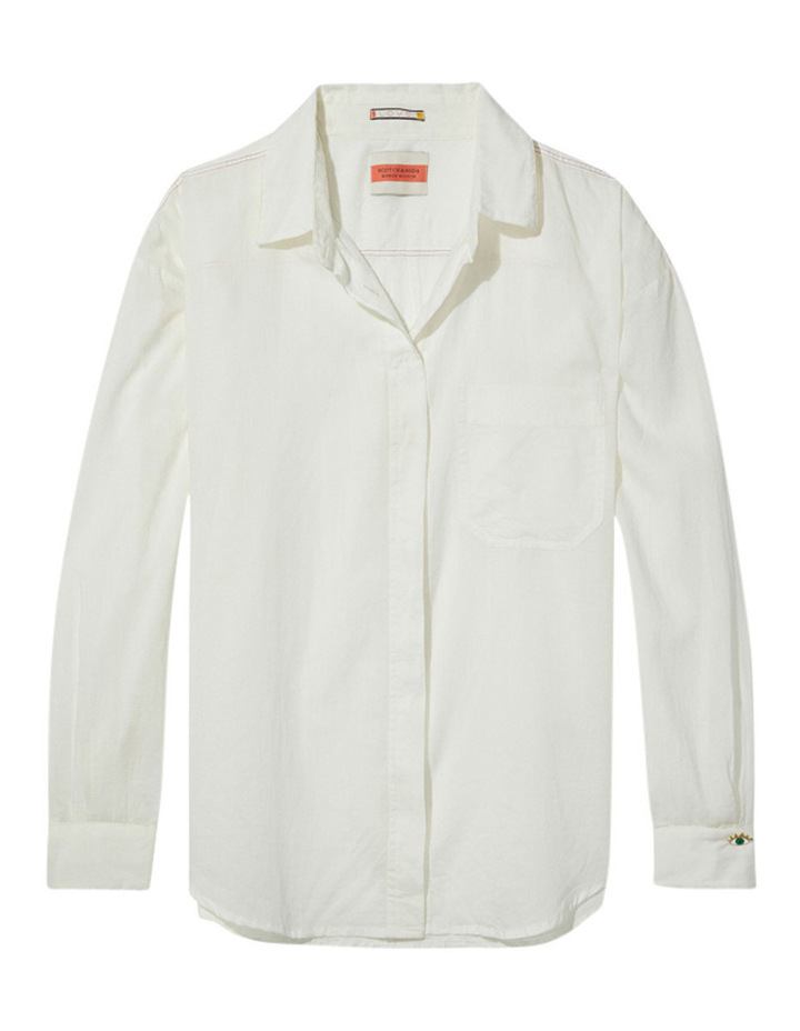 Lightweight Colourful Cotton Shirt With Contrast Stitching image 4