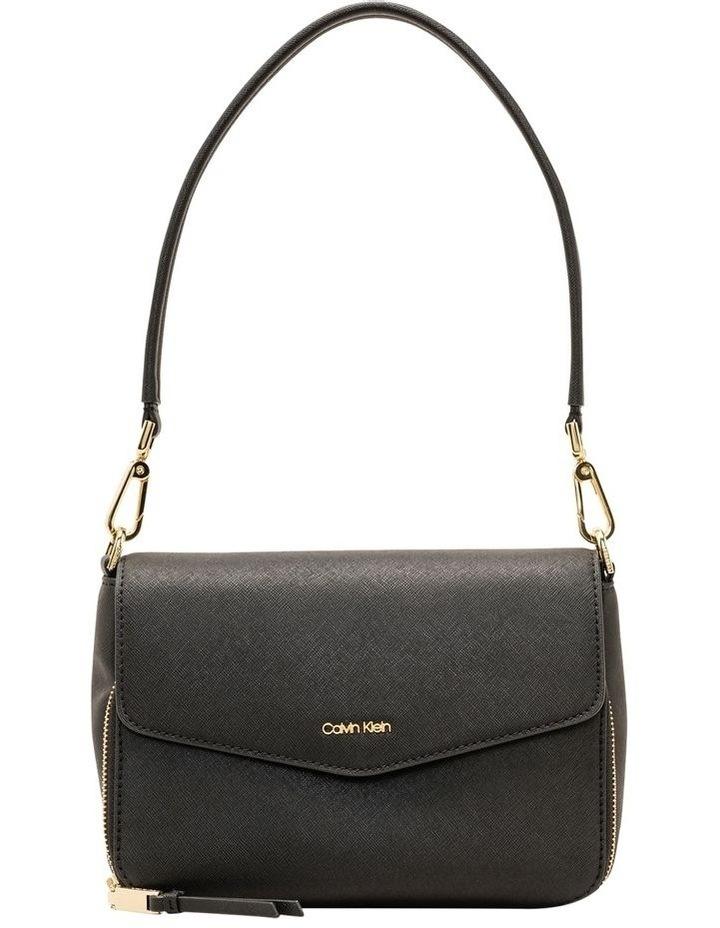 Ava Shoulder Bag With Foldover And Pocket Black/Gold Saffiano image 1