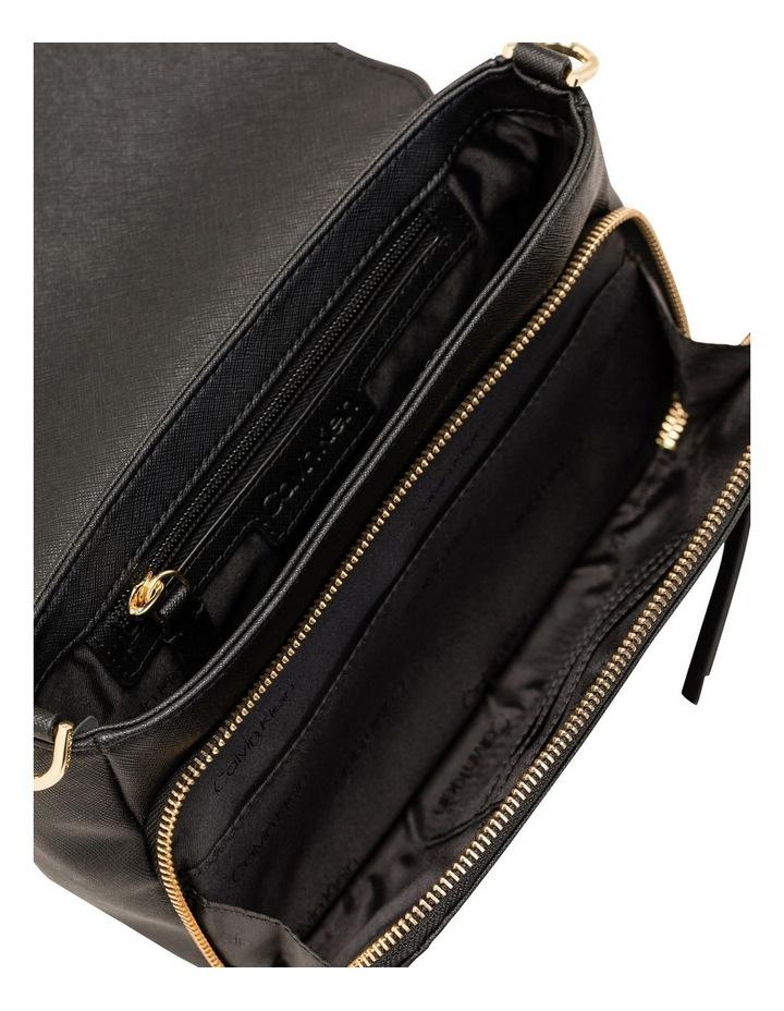 Ava Shoulder Bag With Foldover And Pocket Black/Gold Saffiano image 2