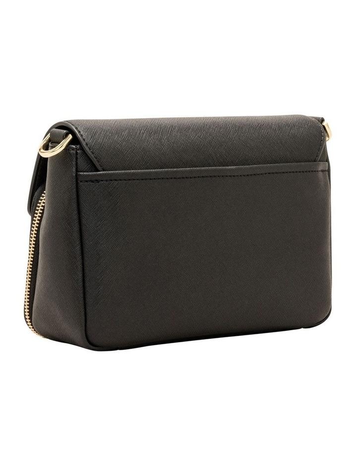 Ava Shoulder Bag With Foldover And Pocket Black/Gold Saffiano image 3