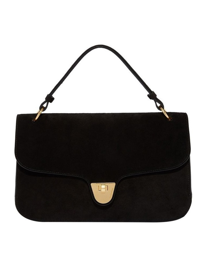 Florence Suede Flap Over Black Bag image 1