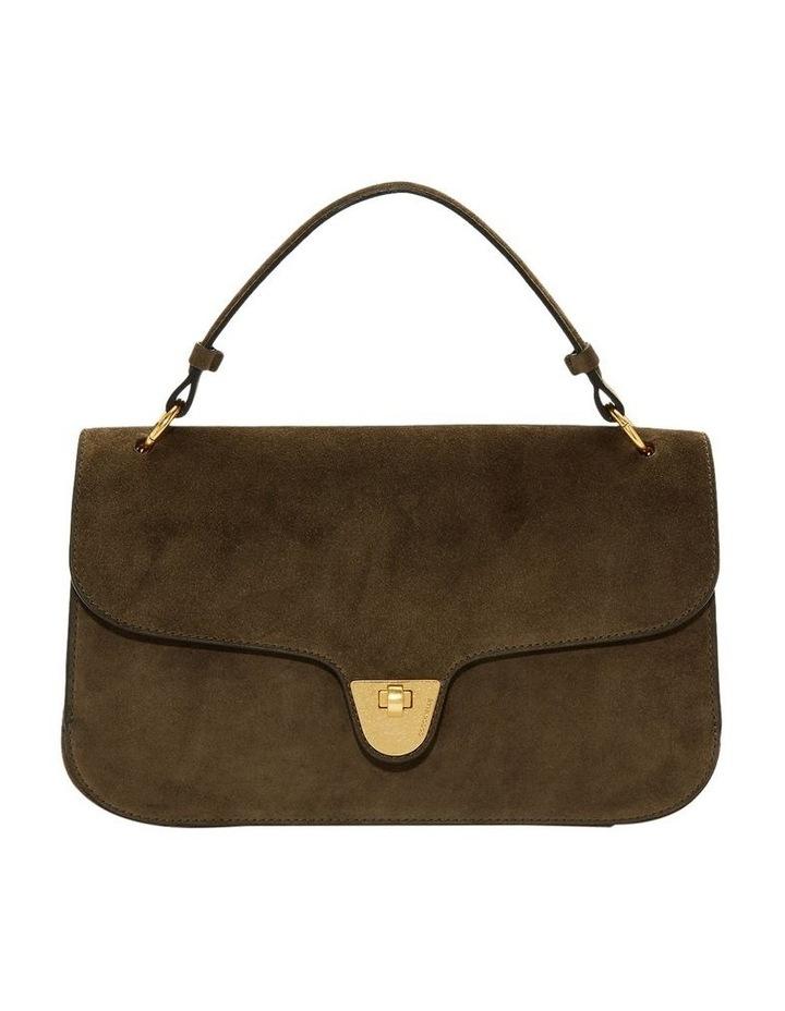 Florence Suede Flap Over Khaki Satchel Bag image 1