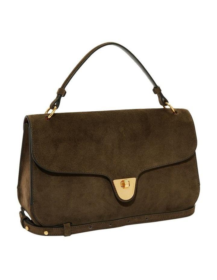 Florence Suede Flap Over Khaki Satchel Bag image 2