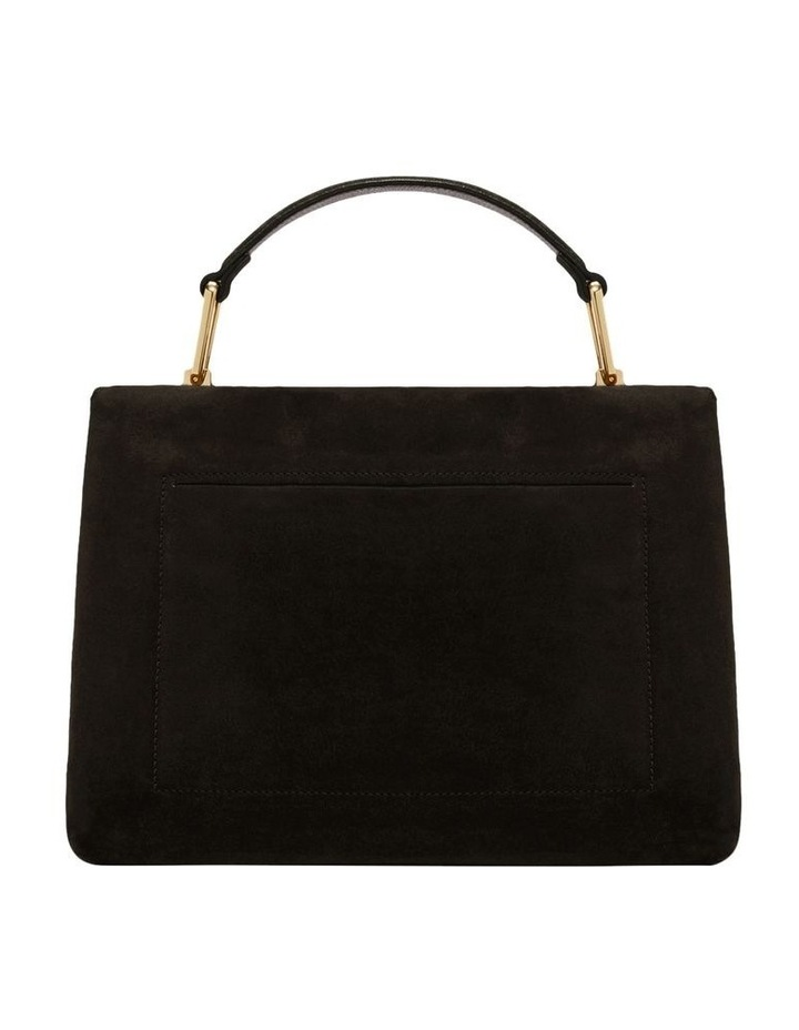 Liya Suede Flap Over Black Top Handle Satchel image 3