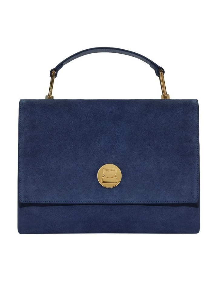 Liya Suede Flap Over Navy Top Handle Satchel image 1