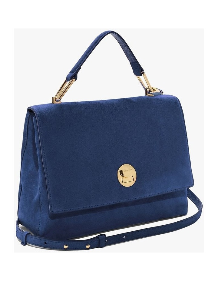 Liya Suede Flap Over Navy Top Handle Satchel image 2