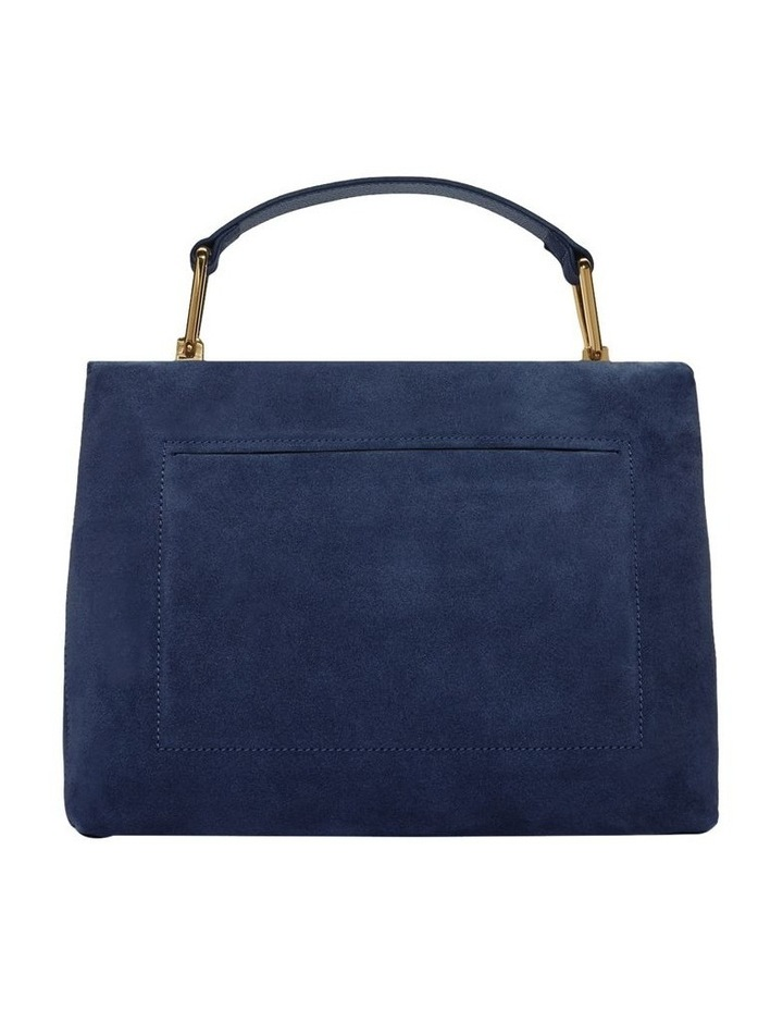 Liya Suede Flap Over Navy Top Handle Satchel image 3