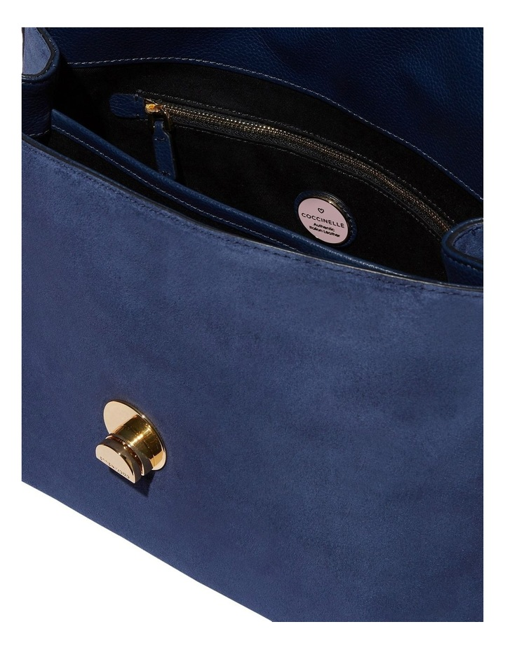 Liya Suede Flap Over Navy Top Handle Satchel image 4