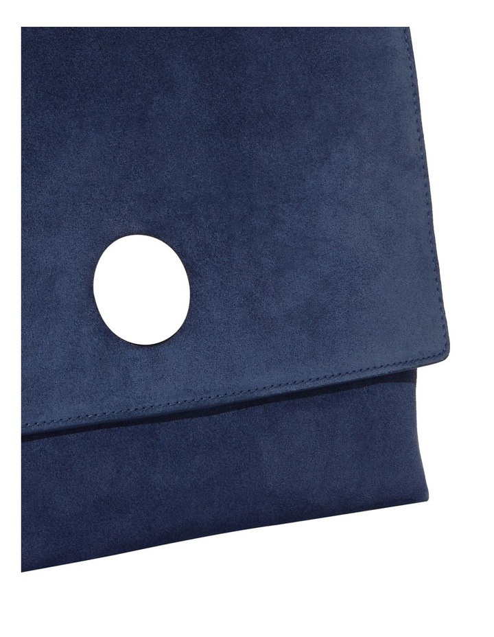 Liya Suede Flap Over Navy Top Handle Satchel image 5