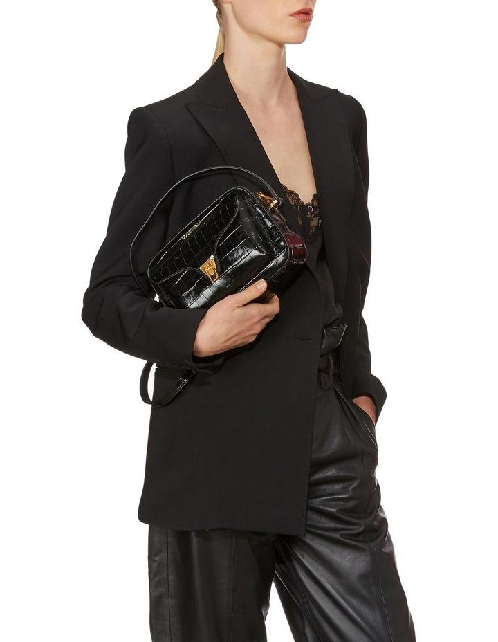 Beat Croco Zip Top Black Crossbody Bag image 2