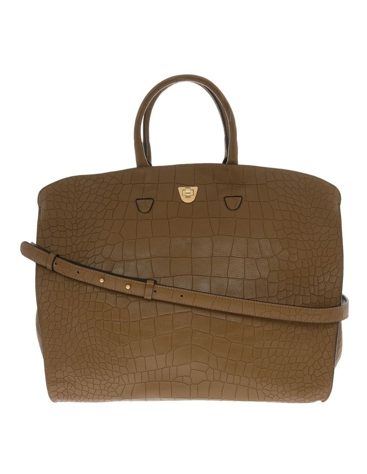 Angie Croco Soft Double Handle Brown Tote Bag image 1