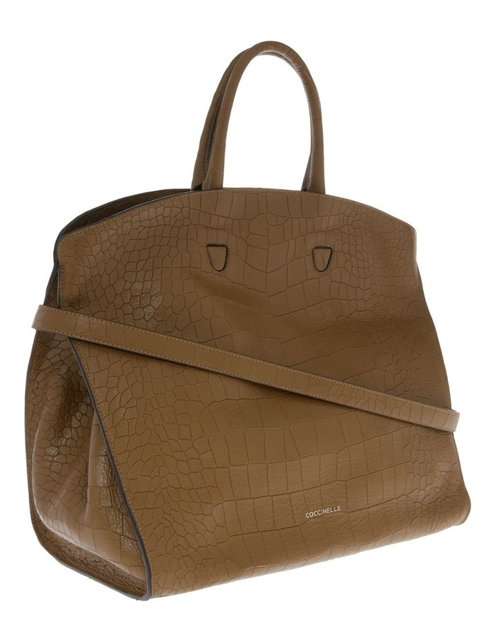 Angie Croco Soft Double Handle Brown Tote Bag image 2