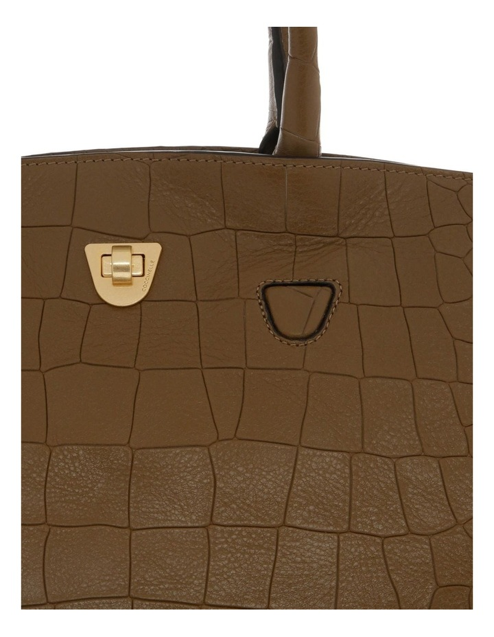 Angie Croco Soft Double Handle Brown Tote Bag image 3