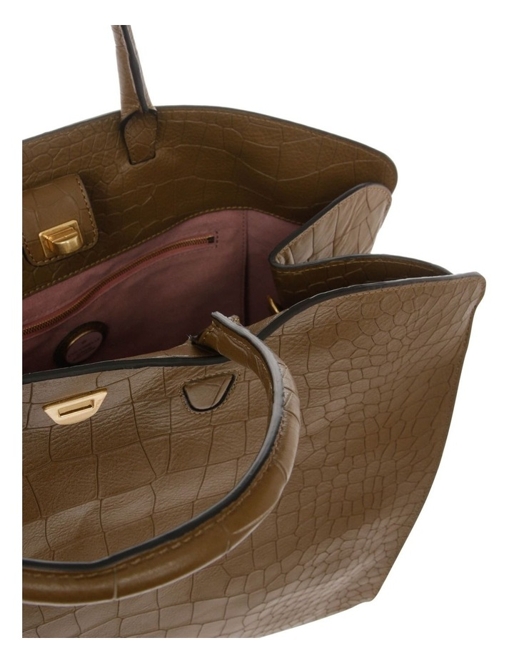 Angie Croco Soft Double Handle Brown Tote Bag image 4