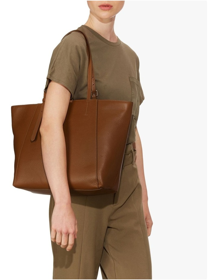 Cher Double Handle Brown Tote Bag image 2