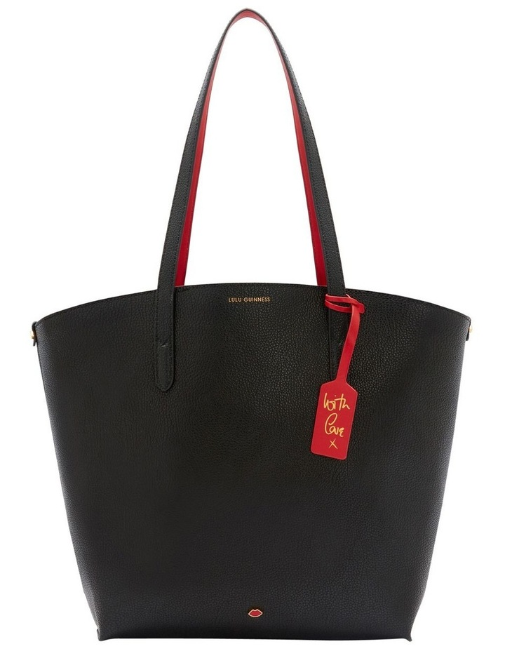 Black Leather Agnes Tote image 1