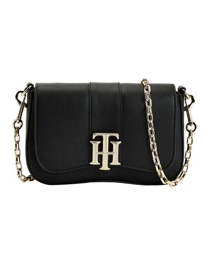 Lock Black Flapover Crossbody Bag image 1