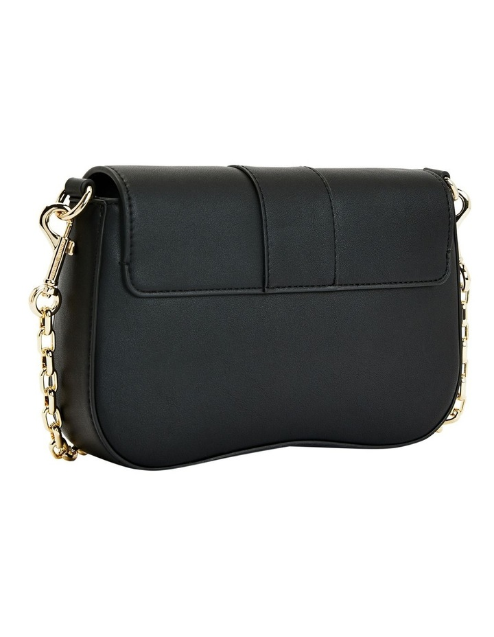 Lock Black Flapover Crossbody Bag image 2