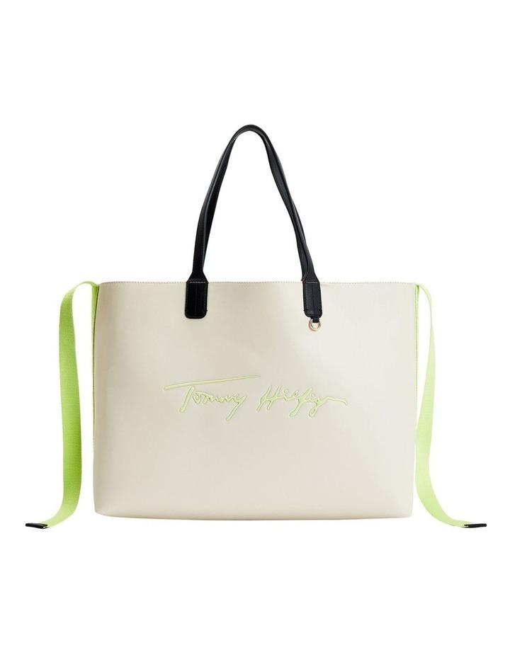 Iconic Tommy Classic Beige/Lumen Flash Zip Top Tote Bag image 1