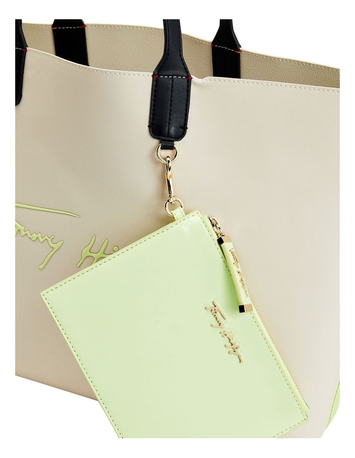Iconic Tommy Classic Beige/Lumen Flash Zip Top Tote Bag image 3