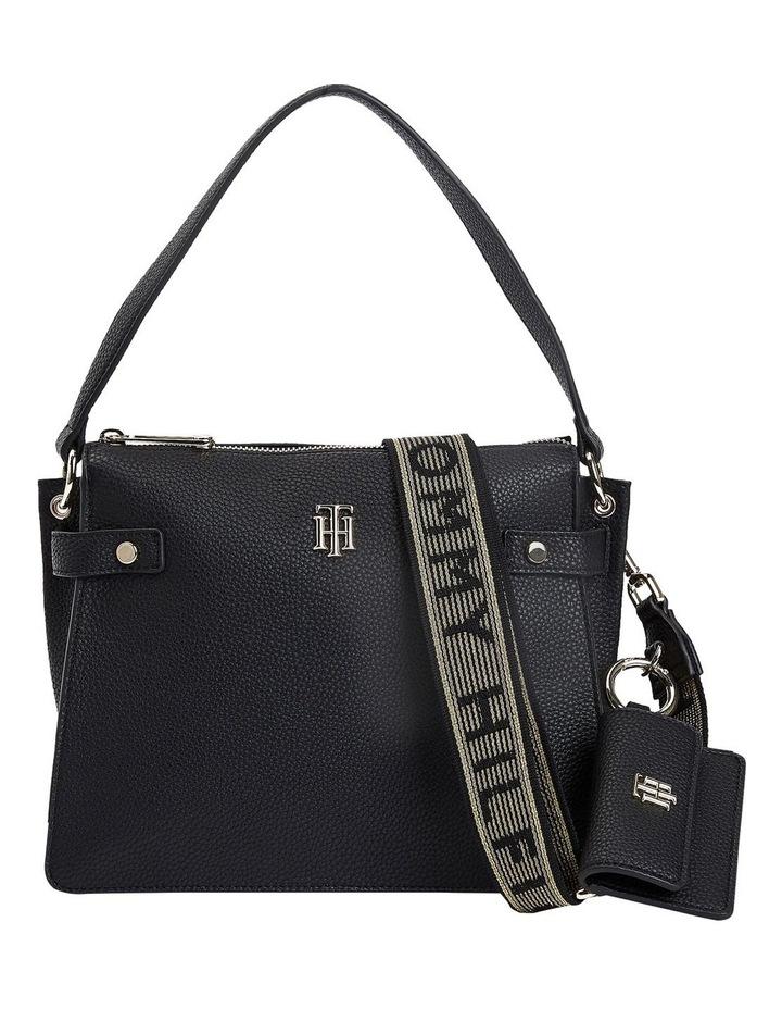 Soft Black Zip Top Satchel Bag image 1
