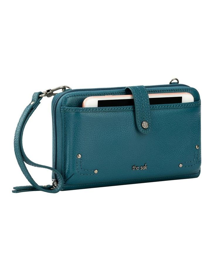 107467 Teal Iris Leather Zip Around Crossbody Bag image 2