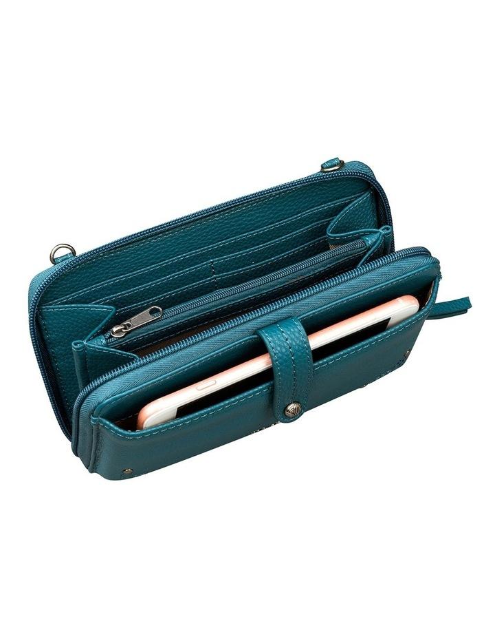 107467 Teal Iris Leather Zip Around Crossbody Bag image 3