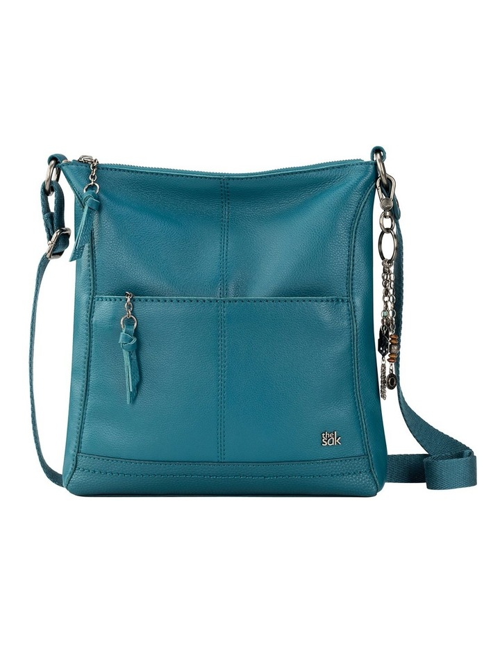 107528 Teal Lucia Leather Zip Top Crossbody Bag image 1