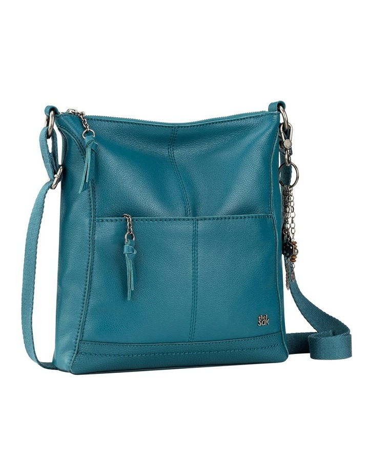 107528 Teal Lucia Leather Zip Top Crossbody Bag image 2