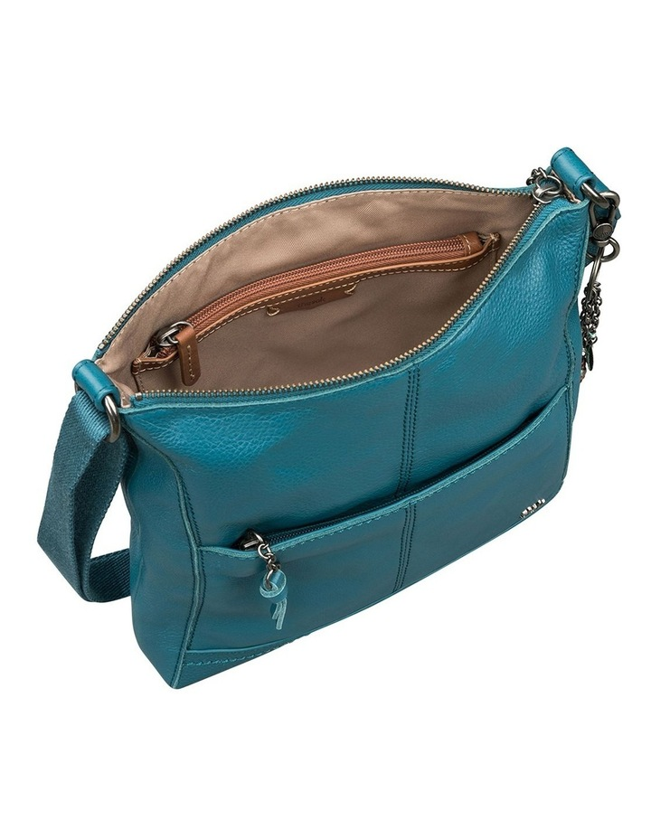 107528 Teal Lucia Leather Zip Top Crossbody Bag image 3