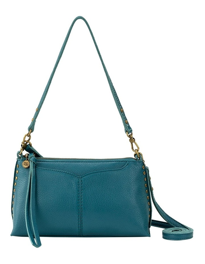 109005 Teal Silverlake Leather Zip Top Crossbody Bag image 1