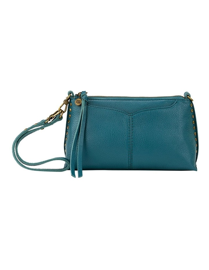 109005 Teal Silverlake Leather Zip Top Crossbody Bag image 2