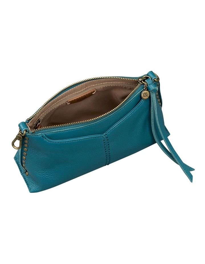 109005 Teal Silverlake Leather Zip Top Crossbody Bag image 3