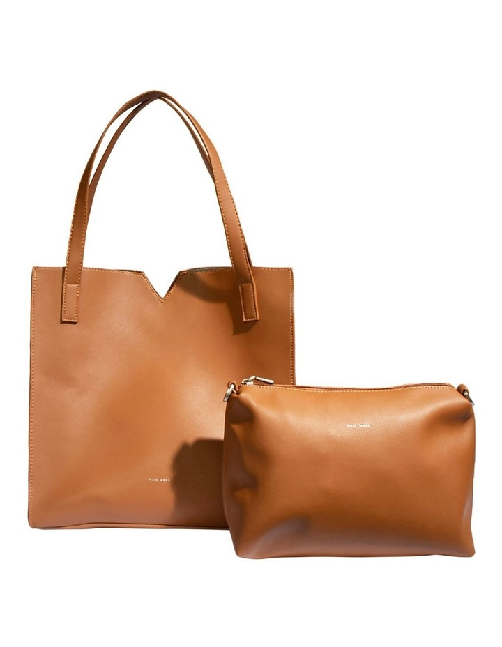 ALI219-TB-02 Alicia Double Handle Tan Tote Bag image 4