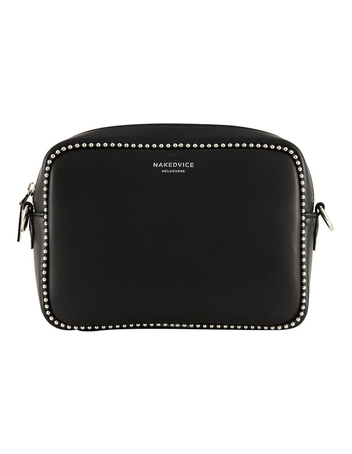 NVAW20-SB12 1995 Stud Silver Zip Around Black Crossbody Bag image 1