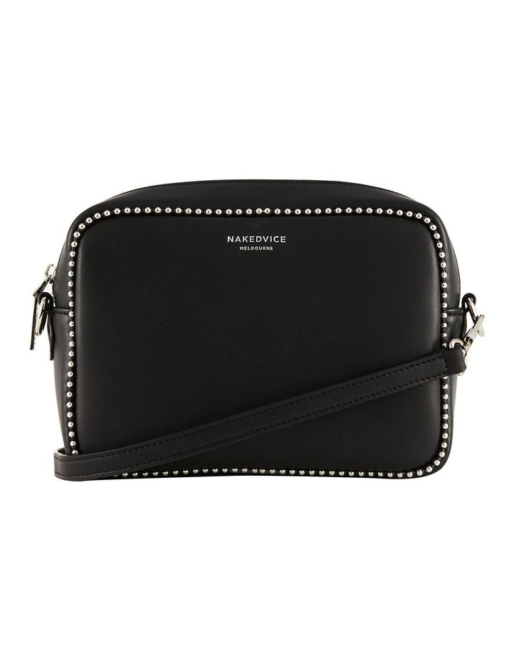 NVAW20-SB12 1995 Stud Silver Zip Around Black Crossbody Bag image 2