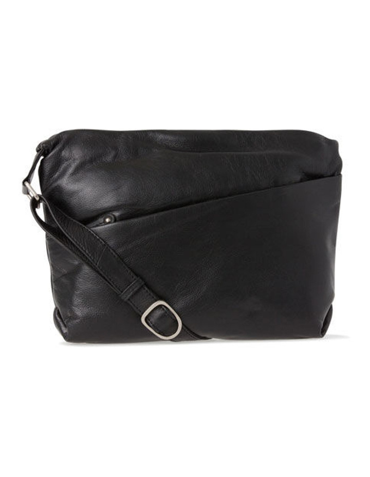 afc2f73de852 Leather Front Zip Pocket Shoulder Bag 2812 BLK image 1