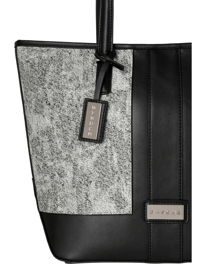 T Front Tote in Black/White image 3