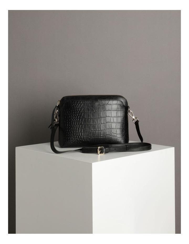 Segovia Croc Crossbody Bag - Black image 5