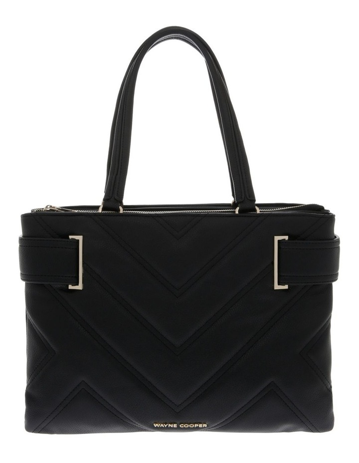 Stephanie Double Handle Black Tote Bag image 1