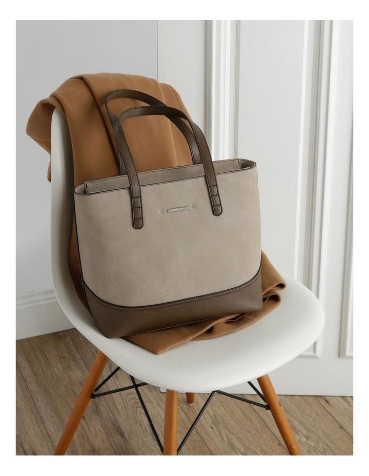 Delia Double Handle Taupe Tote Bag image 5