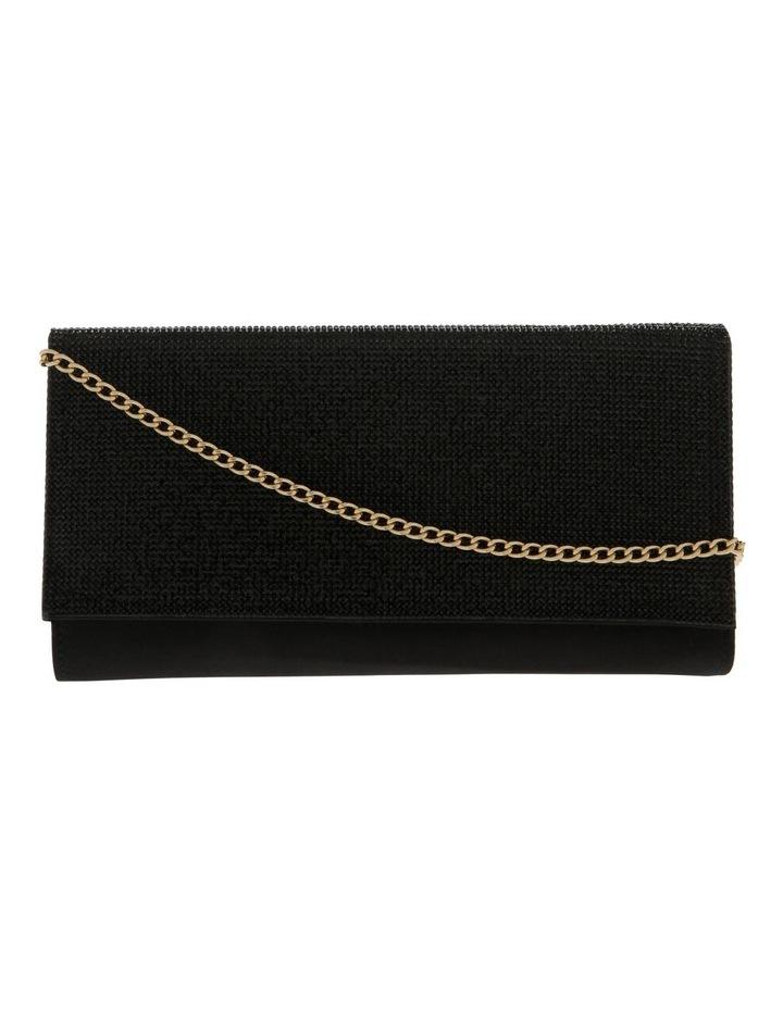 Athena Glitter Flap Over Black Clutch Bag image 1
