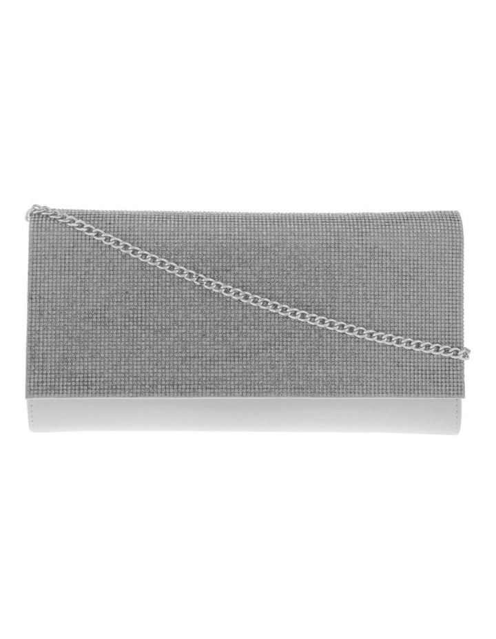 Athena Glitter Flap Over Silver Clutch Bag image 1