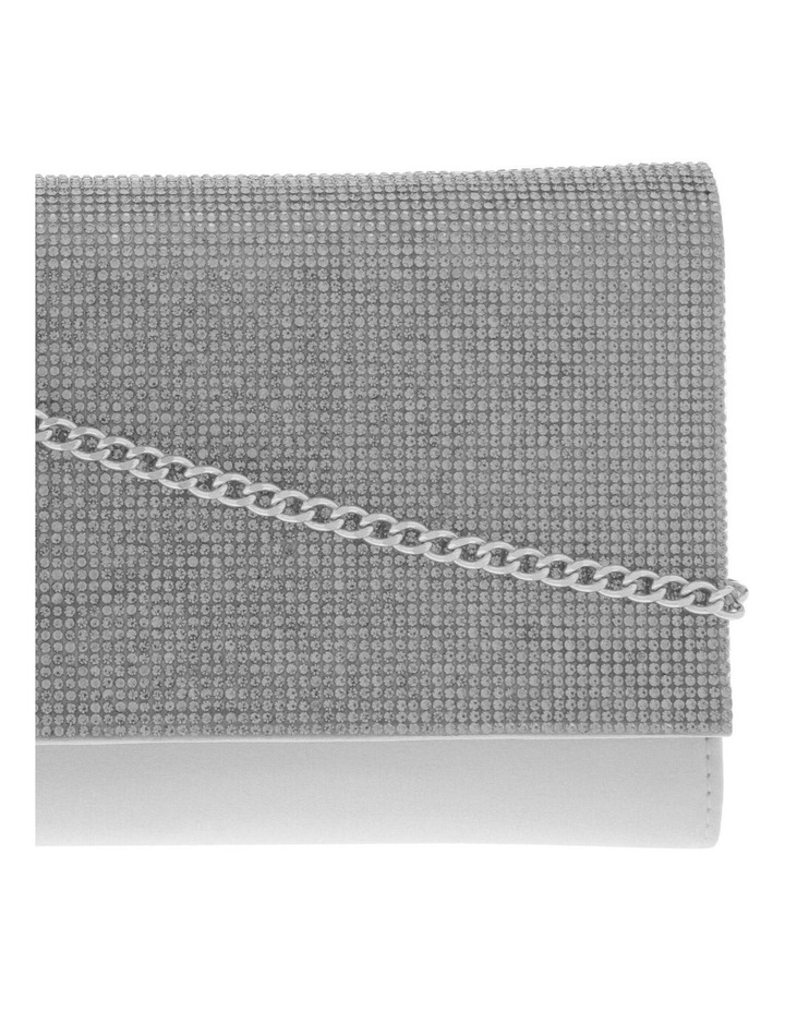 Athena Glitter Flap Over Silver Clutch Bag image 3