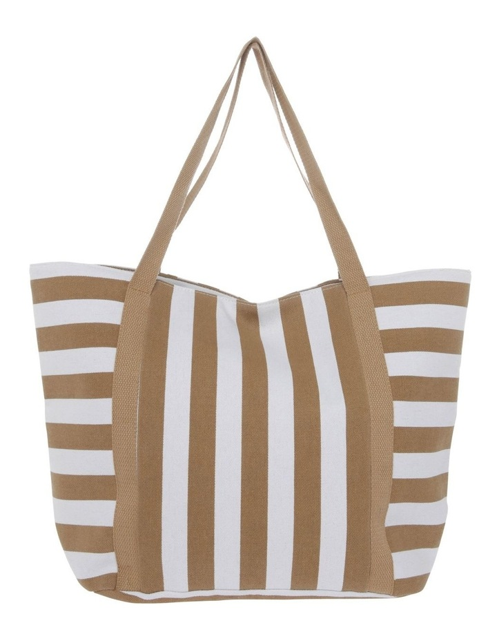 Block Stripe Double Handle Tote Bag image 1