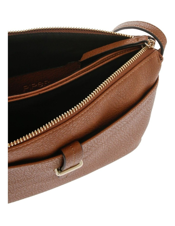 Lara Zip Top Tan Crossbody Bag image 4