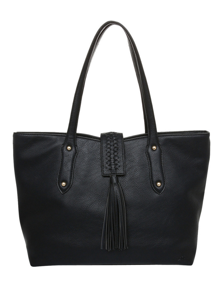 Weave & Tassel Double Handle Tote Bag image 1