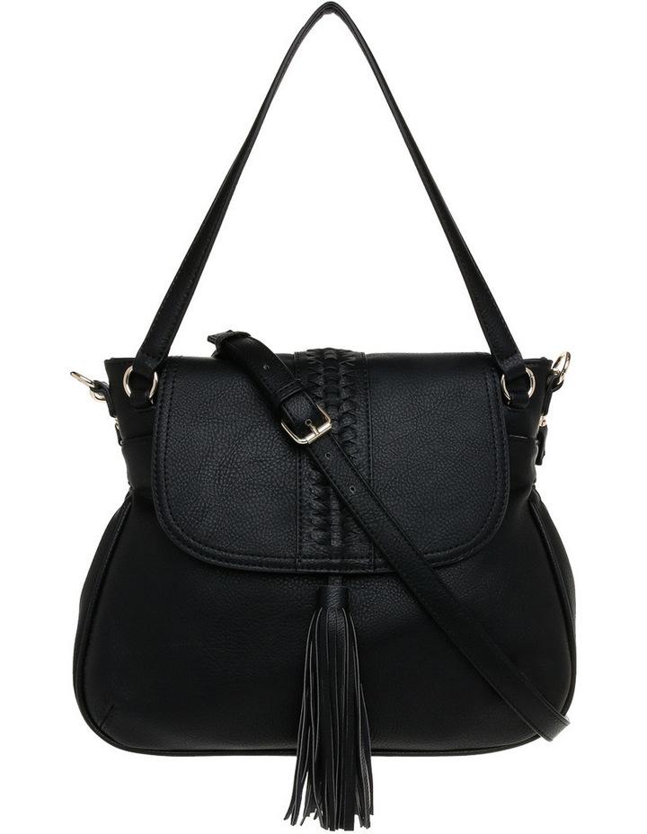 Weave & Tassel Flap Over Crossbody Bag image 1