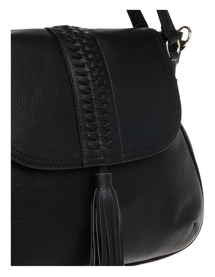 Weave & Tassel Flap Over Crossbody Bag image 3